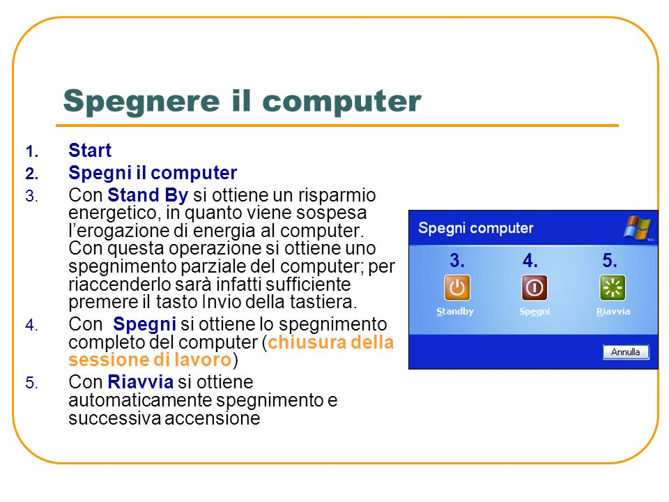 Spegnere il computer Start Spegni il computer