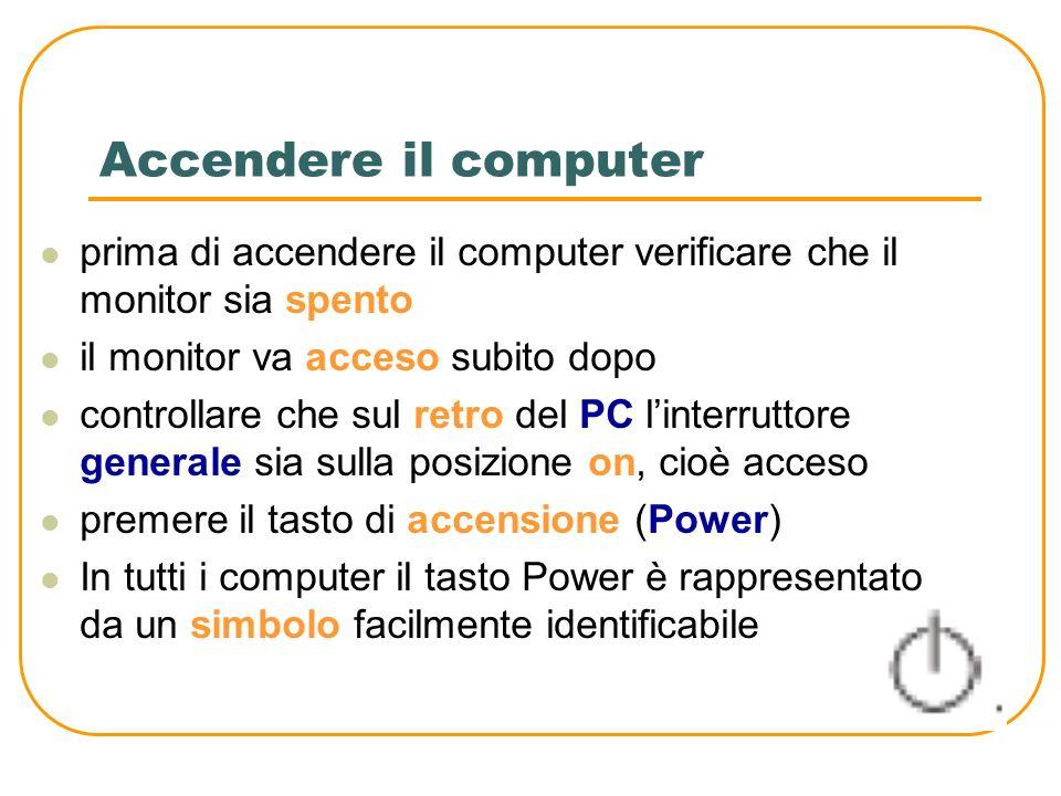 Accendere il computer prima di accendere il computer verificare che il monitor sia spento. il monitor va acceso subito dopo.