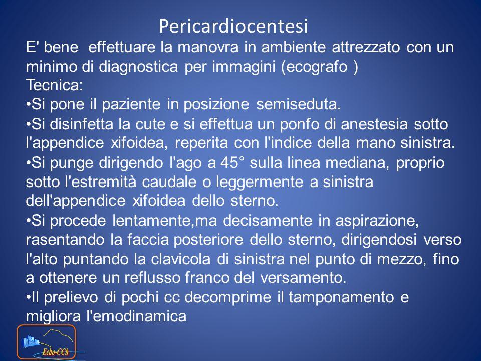 Pericardiocentesi E bene effettuare la manovra in ambiente attrezzato con un minimo di diagnostica per immagini (ecografo )