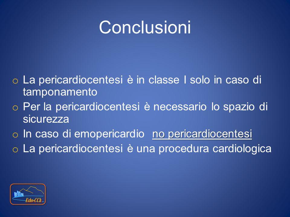 Conclusioni La pericardiocentesi è in classe I solo in caso di tamponamento. Per la pericardiocentesi è necessario lo spazio di sicurezza.