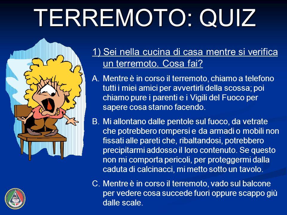 TERREMOTO: QUIZ 1) Sei nella cucina di casa mentre si verifica un terremoto. Cosa fai