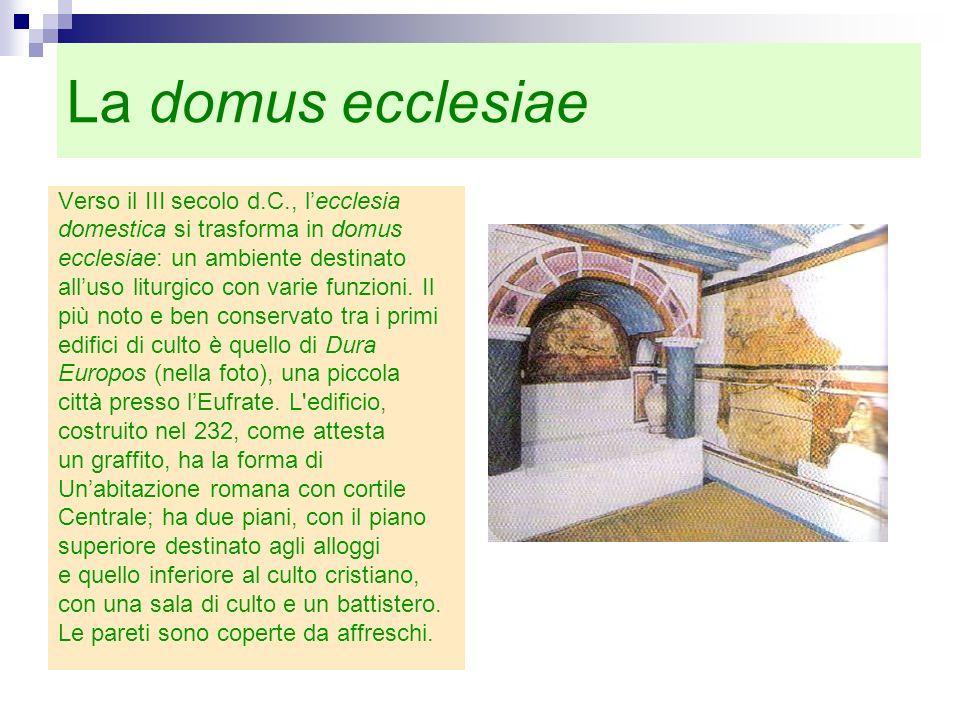 La domus ecclesiae Verso il III secolo d.C., l'ecclesia
