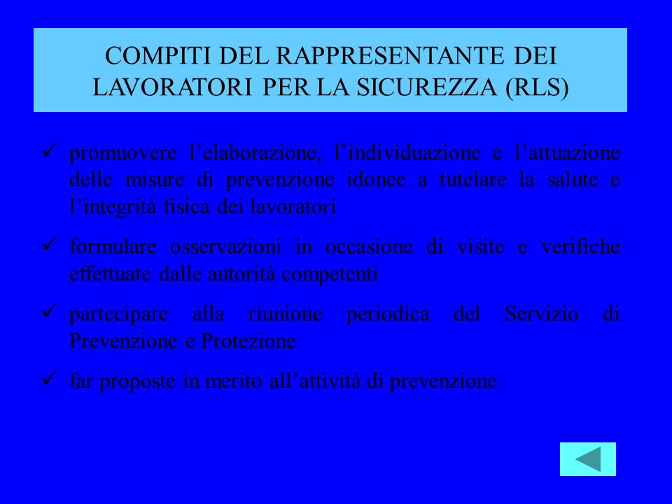 COMPITI DEL RAPPRESENTANTE DEI LAVORATORI PER LA SICUREZZA (RLS)
