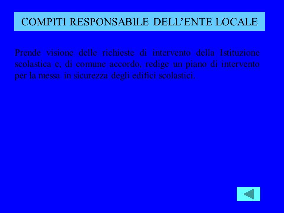 COMPITI RESPONSABILE DELL'ENTE LOCALE