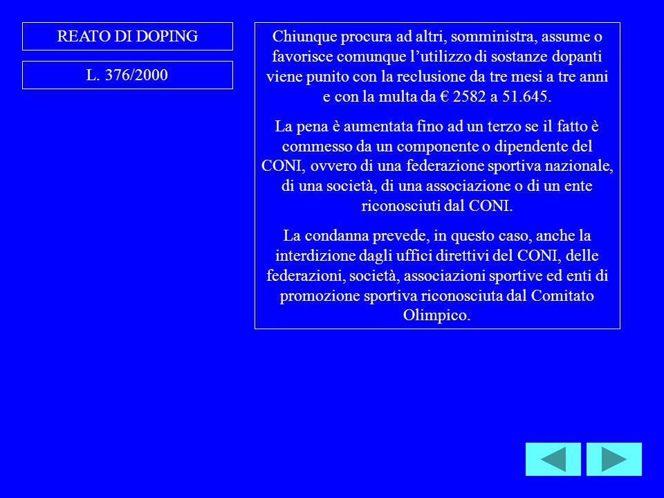 REATO DI DOPING