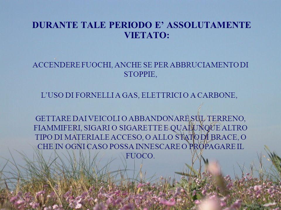 DURANTE TALE PERIODO E' ASSOLUTAMENTE VIETATO: