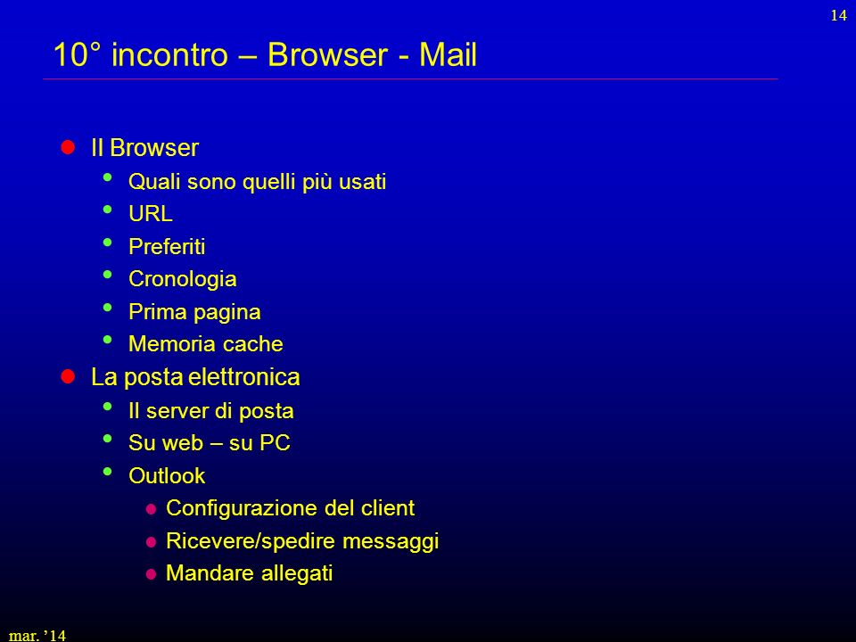 10° incontro – Browser - Mail
