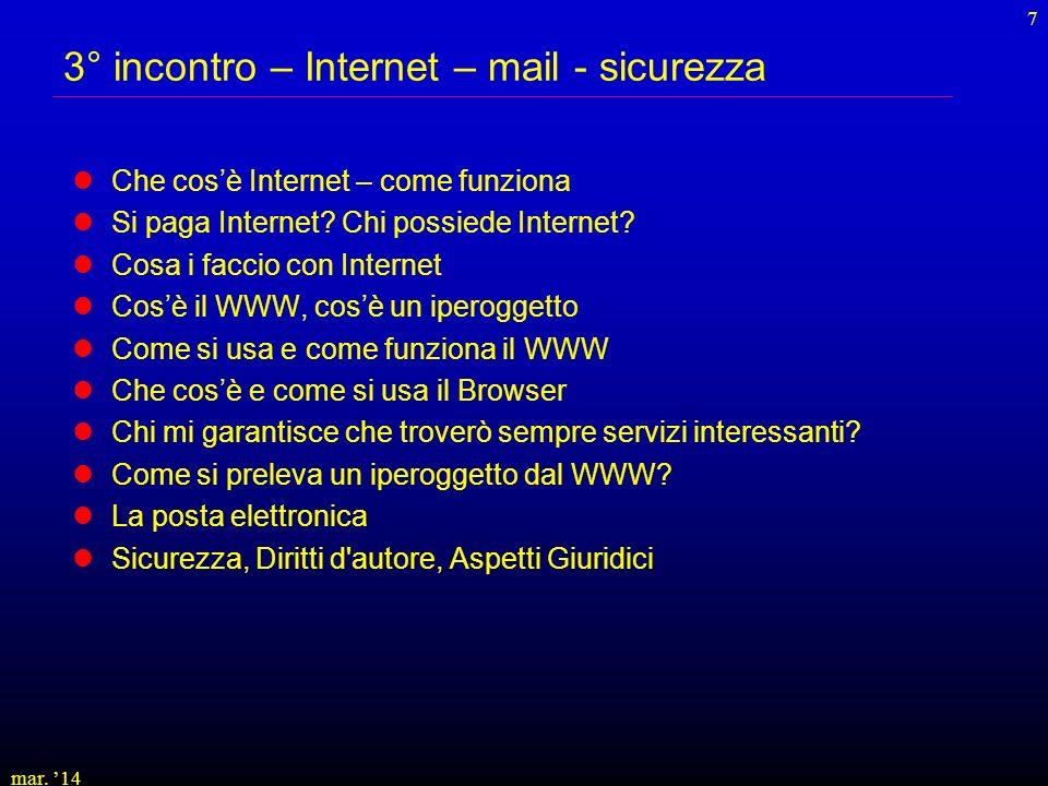 3° incontro – Internet – mail - sicurezza