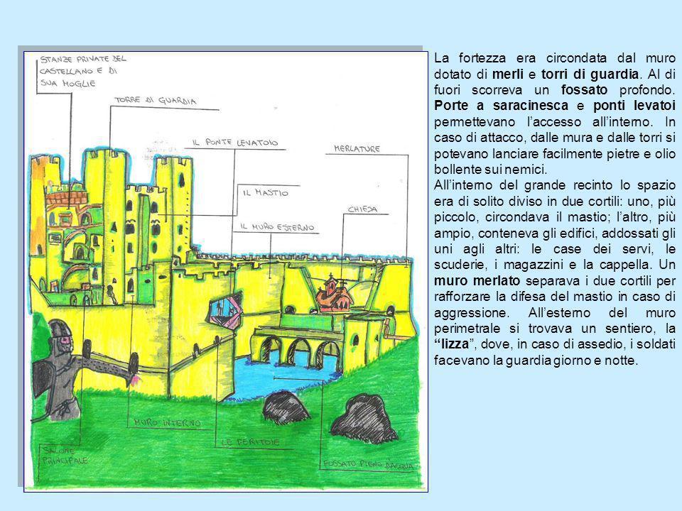 La fortezza era circondata dal muro dotato di merli e torri di guardia