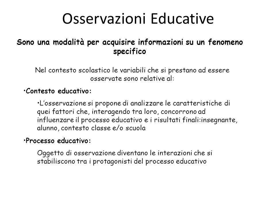 Osservazioni Educative