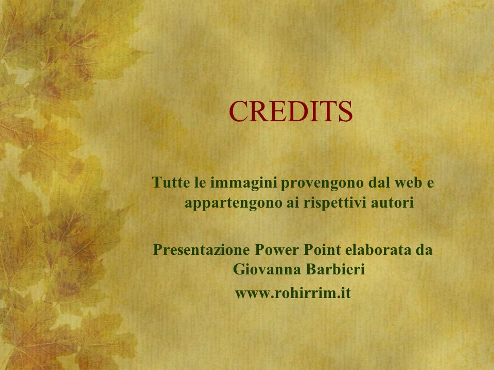 Presentazione Power Point elaborata da Giovanna Barbieri