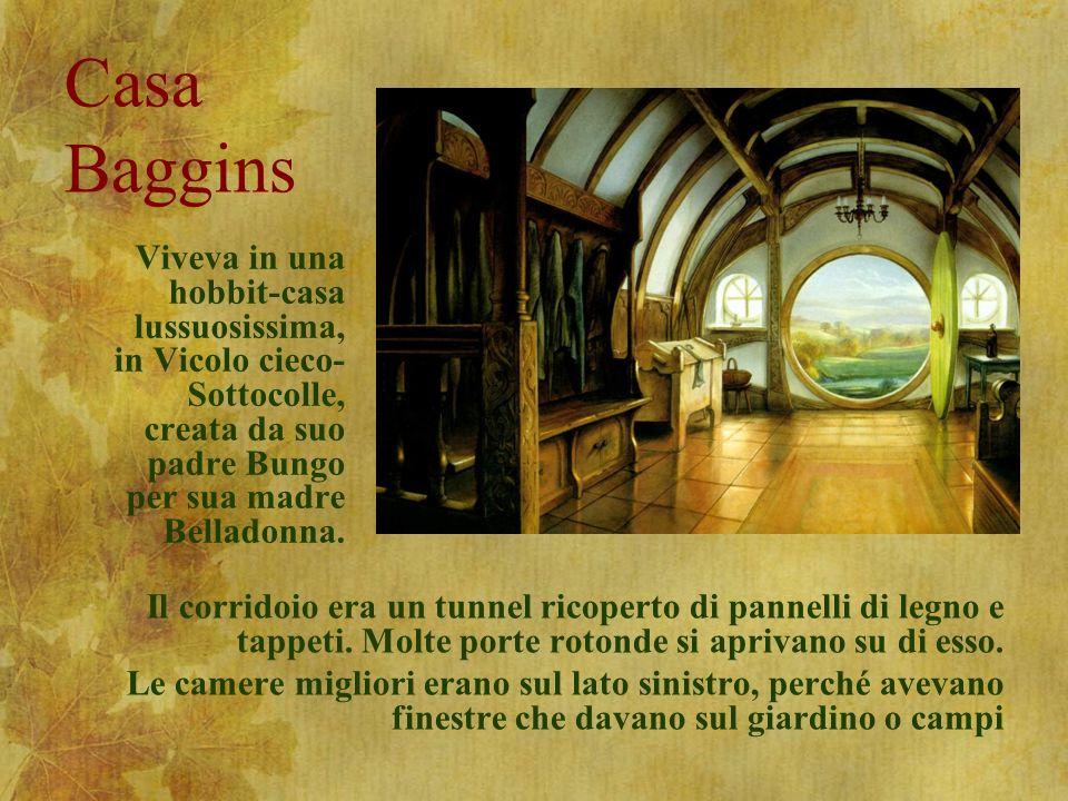 Casa Baggins Viveva in una hobbit-casa lussuosissima, in Vicolo cieco-Sottocolle, creata da suo padre Bungo per sua madre Belladonna.