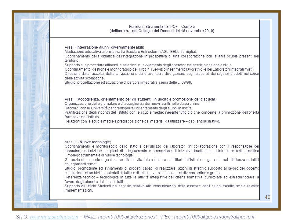 (delibera n.1 del Collegio dei Docenti del 18 novembre 2010)