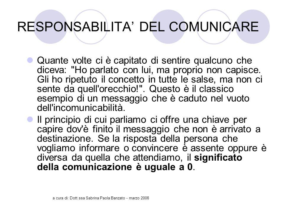 RESPONSABILITA' DEL COMUNICARE