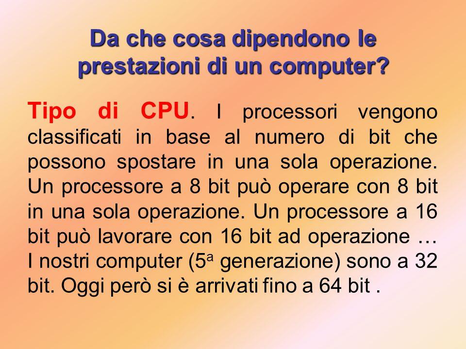 Da che cosa dipendono le prestazioni di un computer