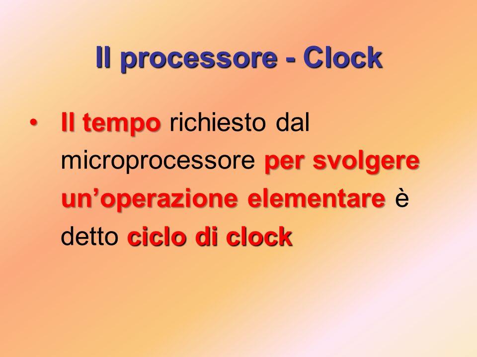 Il processore - Clock Il tempo richiesto dal microprocessore per svolgere un'operazione elementare è detto ciclo di clock.
