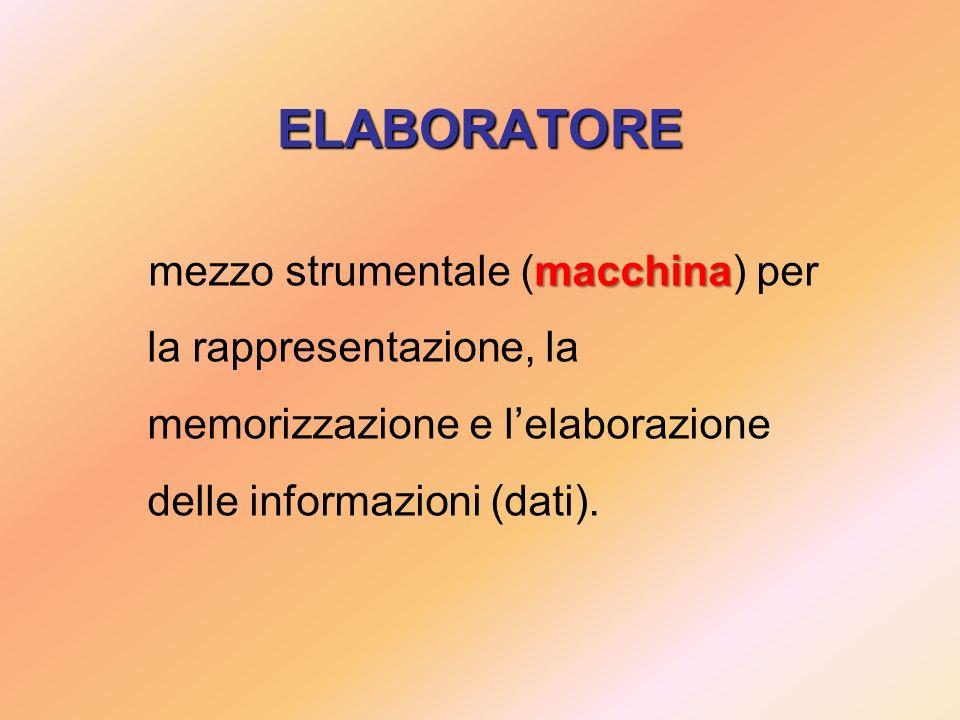 ELABORATORE mezzo strumentale (macchina) per la rappresentazione, la memorizzazione e l'elaborazione delle informazioni (dati).