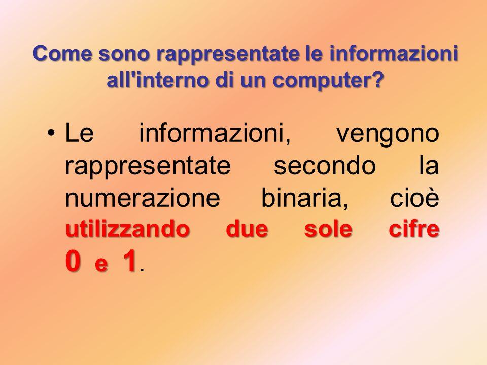 Come sono rappresentate le informazioni all interno di un computer