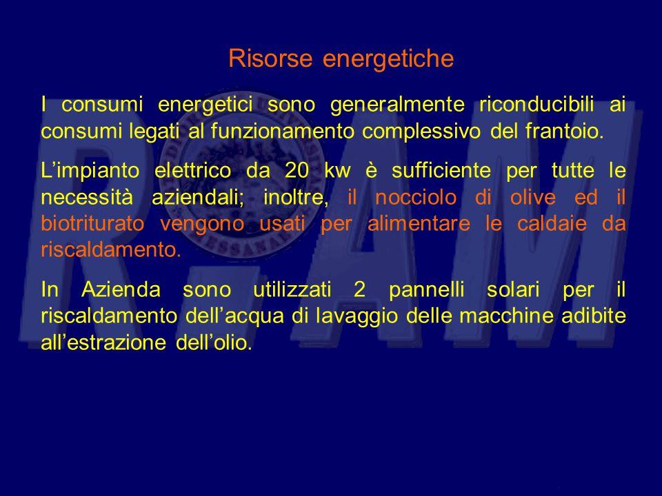 Risorse energetiche I consumi energetici sono generalmente riconducibili ai consumi legati al funzionamento complessivo del frantoio.