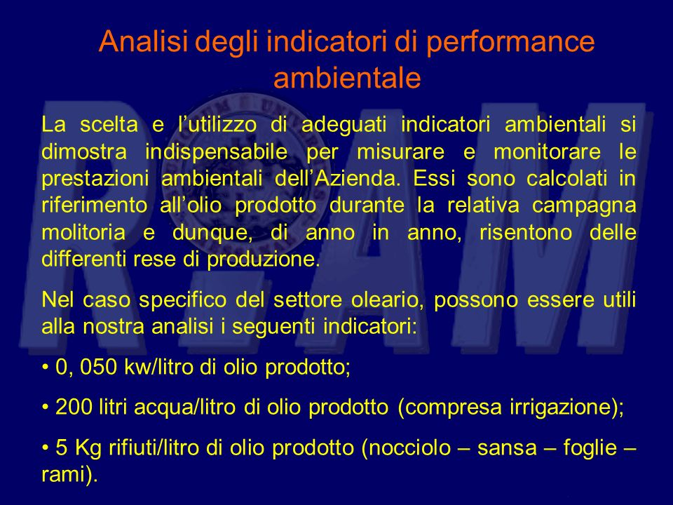 Analisi degli indicatori di performance ambientale