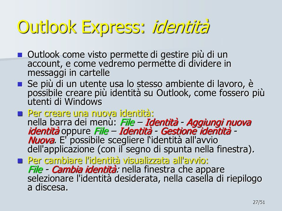Outlook Express: identità