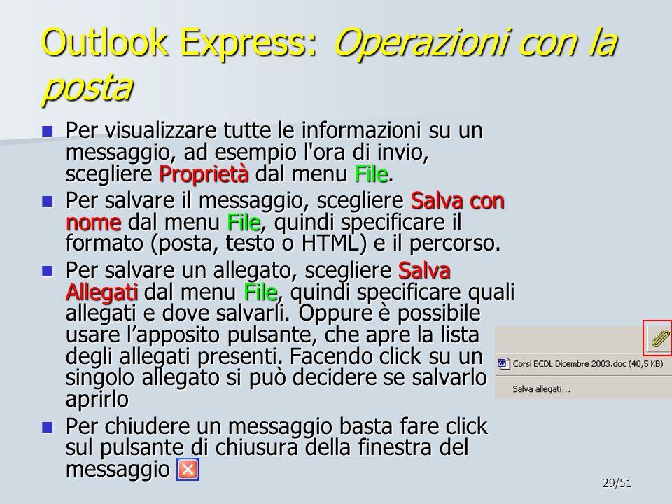 Outlook Express: Operazioni con la posta