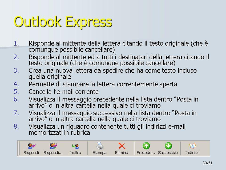 Outlook Express Risponde al mittente della lettera citando il testo originale (che è comunque possibile cancellare)