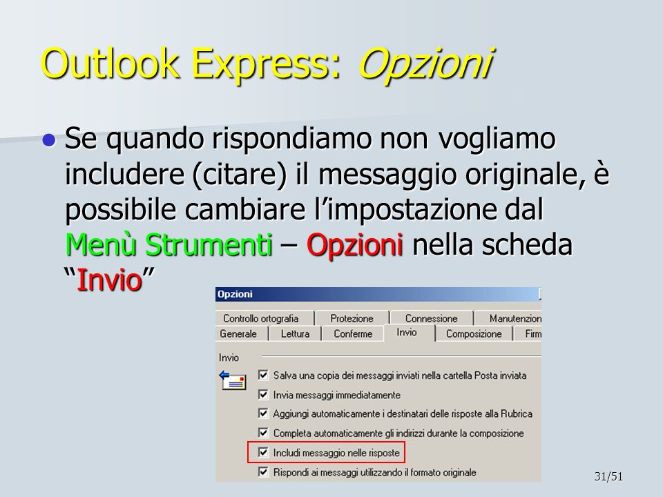 Outlook Express: Opzioni