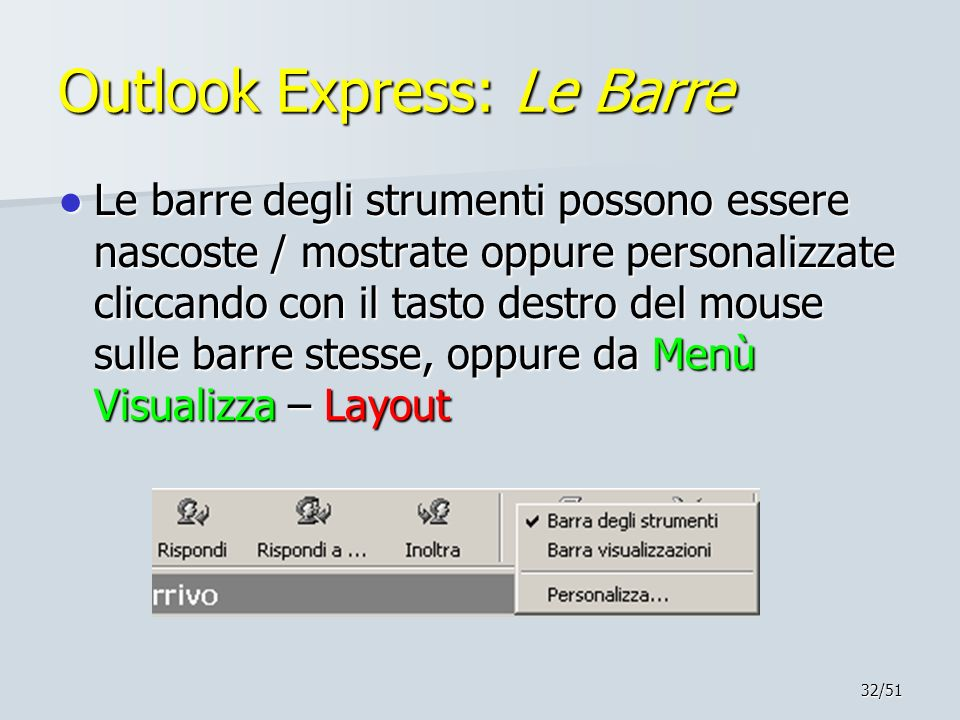 Outlook Express: Le Barre