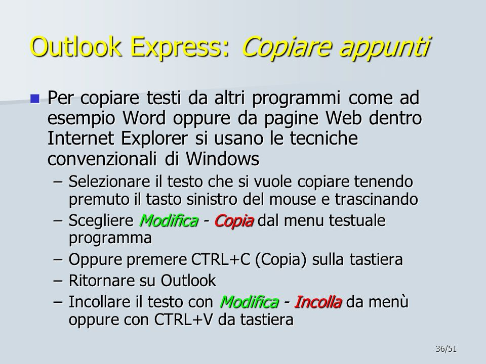 Outlook Express: Copiare appunti
