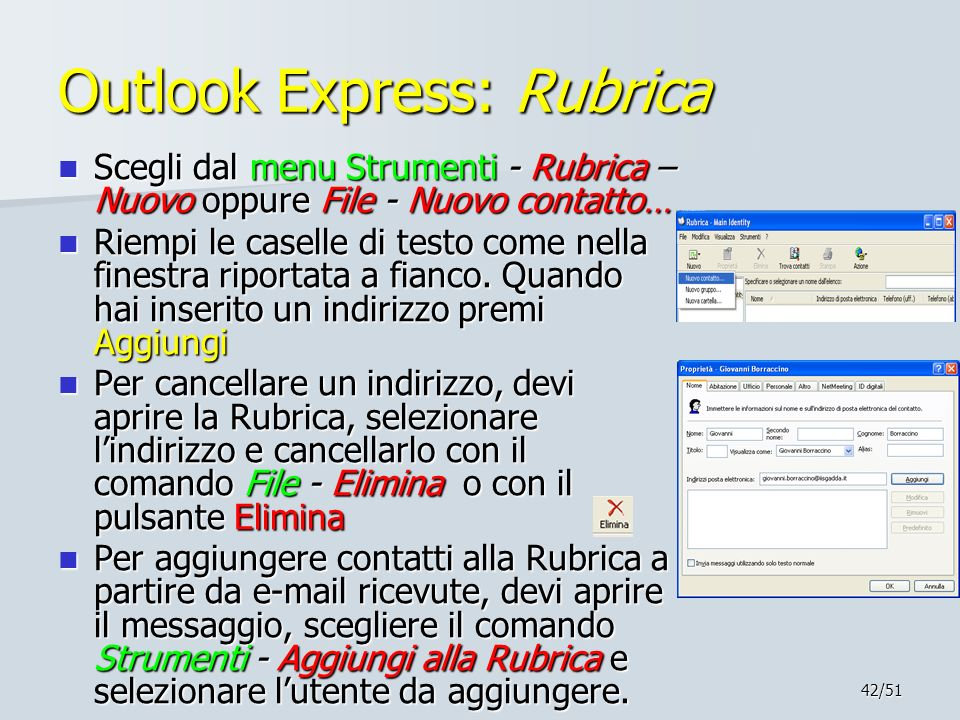 Outlook Express: Rubrica