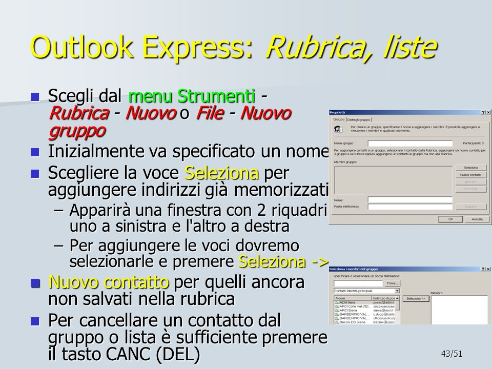 Outlook Express: Rubrica, liste