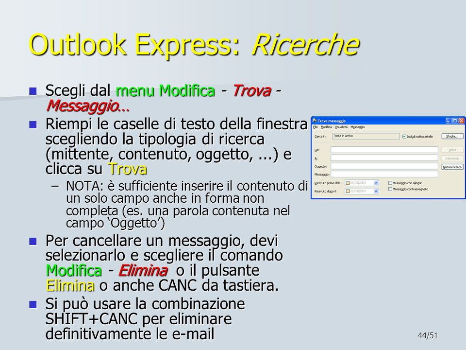 Outlook Express: Ricerche