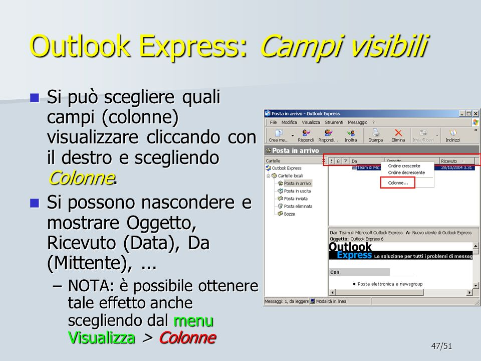 Outlook Express: Campi visibili