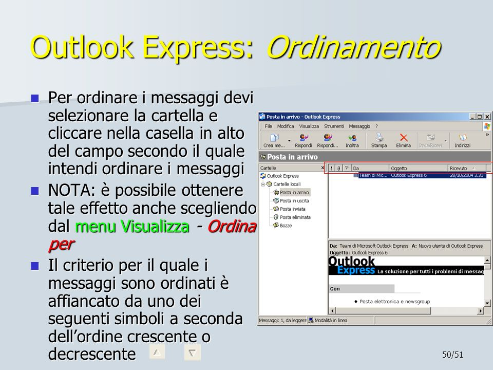 Outlook Express: Ordinamento