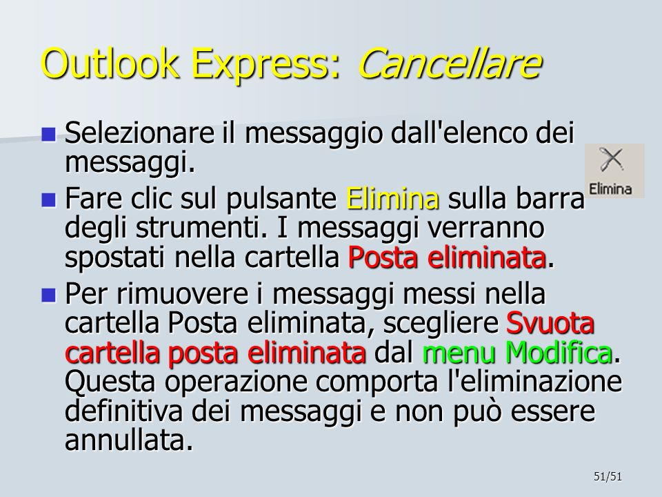 Outlook Express: Cancellare