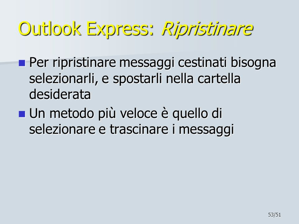 Outlook Express: Ripristinare
