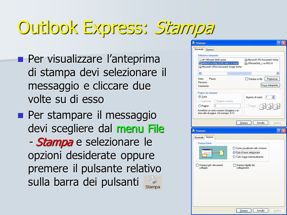 Outlook Express: Stampa