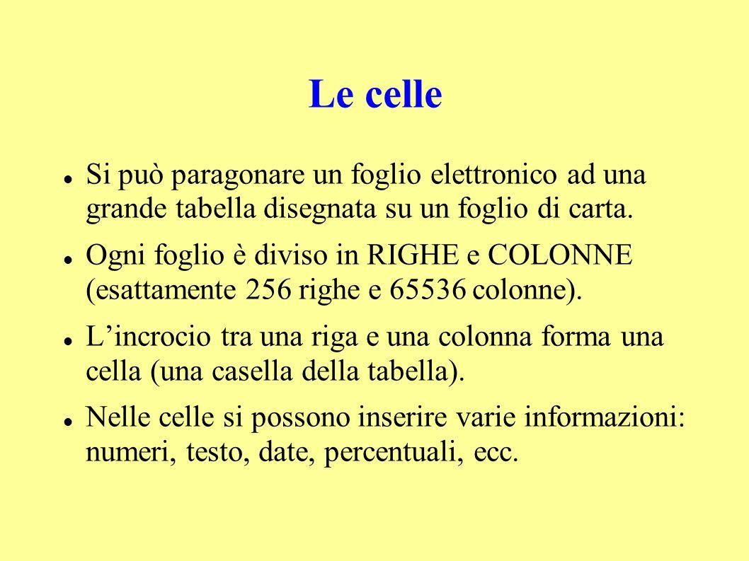 Le celle Si può paragonare un foglio elettronico ad una grande tabella disegnata su un foglio di carta.