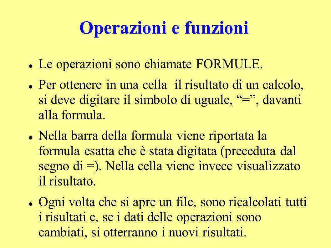 Operazioni e funzioni Le operazioni sono chiamate FORMULE.