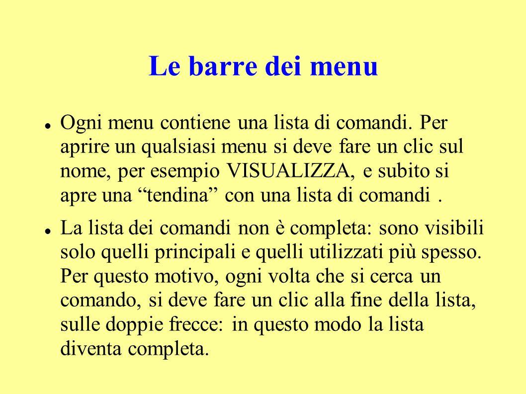 Le barre dei menu