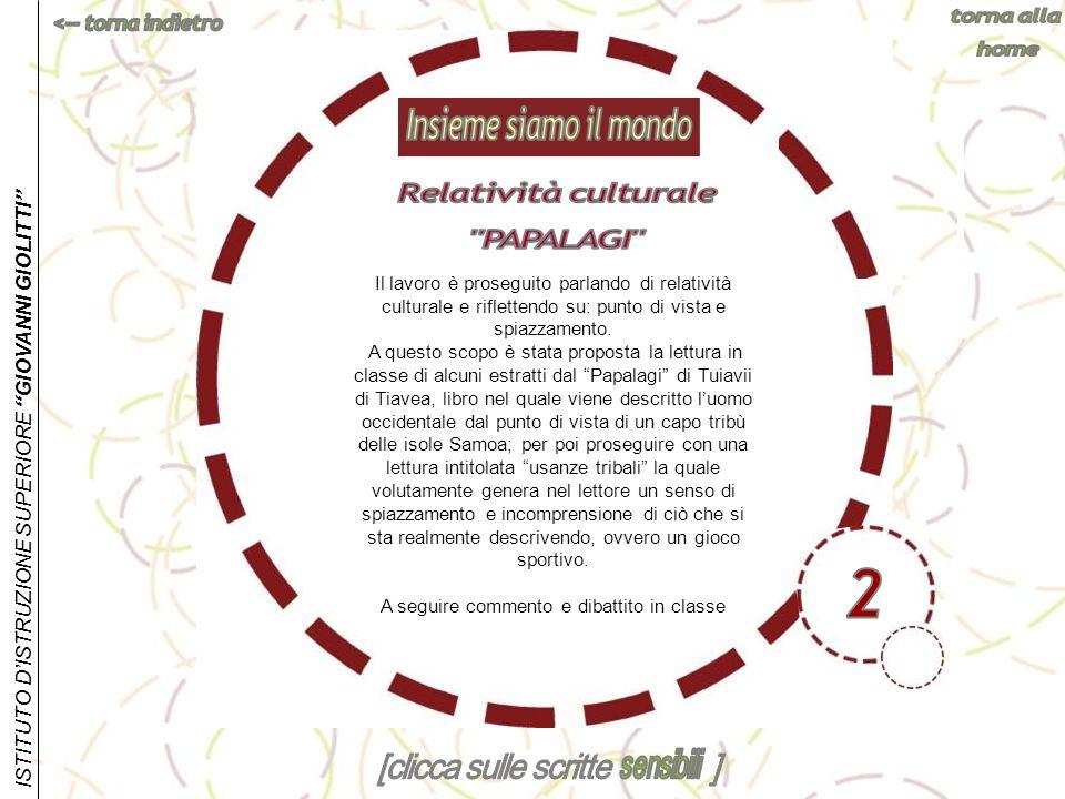 Insieme siamo il mondo Relatività culturale PAPALAGI 2