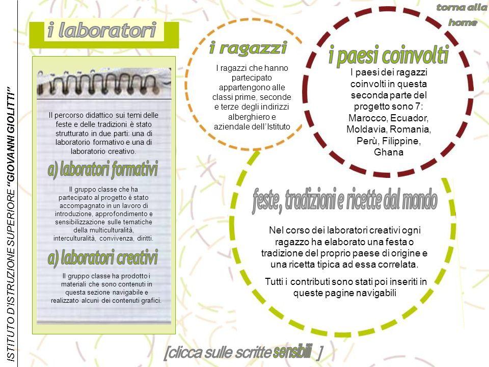 a) laboratori formativi feste, tradizioni e ricette dal mondo