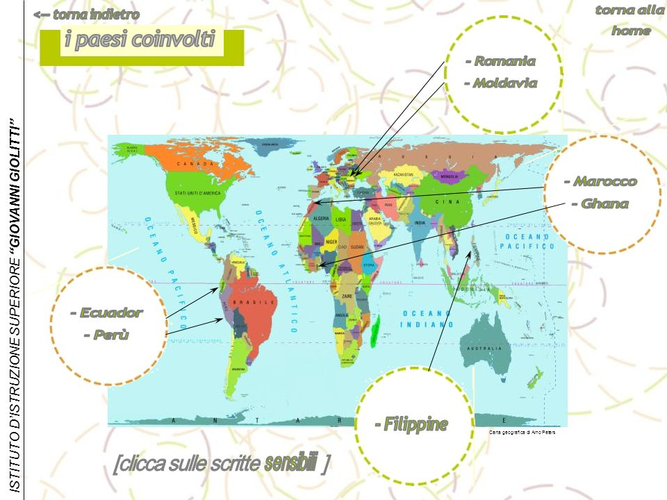 i paesi coinvolti - Romania - Moldavia - Marocco - Ghana - Ecuador