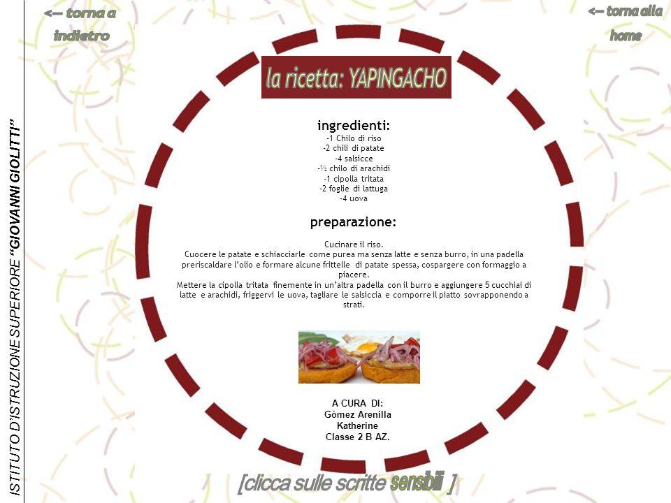 la ricetta: YAPINGACHO Gòmez Arenilla Katherine