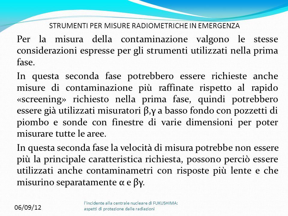 STRUMENTI PER MISURE RADIOMETRICHE IN EMERGENZA