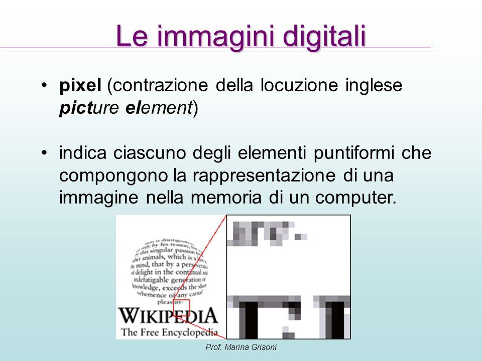 Le immagini digitali pixel (contrazione della locuzione inglese picture element)