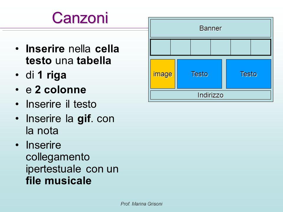 Canzoni Inserire nella cella testo una tabella di 1 riga e 2 colonne
