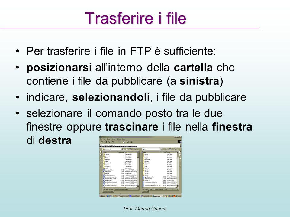 Trasferire i file Per trasferire i file in FTP è sufficiente: