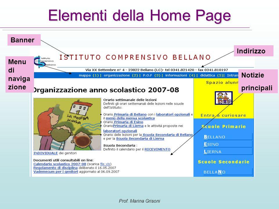 Elementi della Home Page